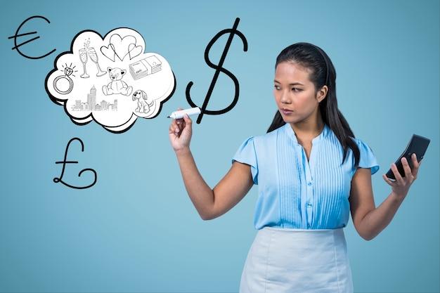 Dessin femme du dollar des symboles de l'air Photo gratuit