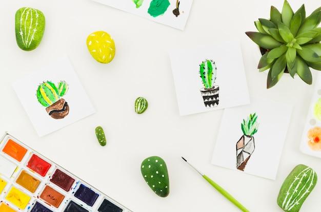 Dessins aquarelle de cactus vue de dessus Photo gratuit