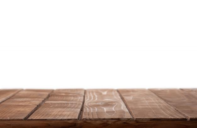 Dessus De Table En Bois Sur Fond Blanc Isolé Photo Premium