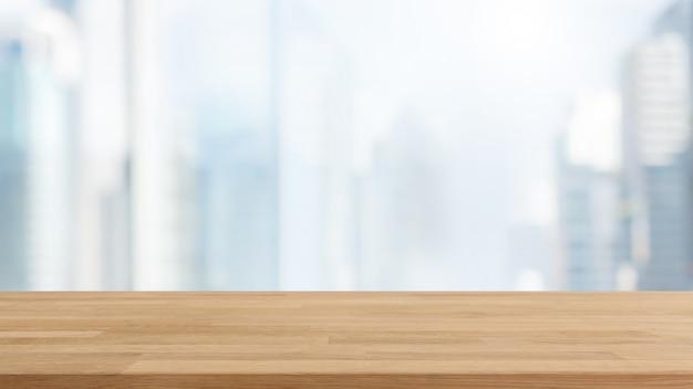 Dessus de table en bois vide et flou fond de mur de verre fenêtre fond avec filtre vintage. Photo Premium