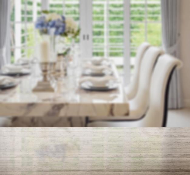 Dessus De Table En Granit Et Flou De La Table à Manger Et Des Chaises Confortables De Style Vintage Avec Une Table élégante Photo Premium