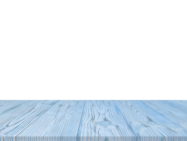 Dessus de table texturé en bois bleu isolé sur fond blanc Photo gratuit