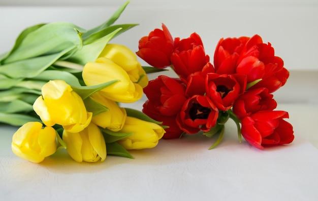 Détail de bouquet de tulipes rouges et jaunes avec un fond blanc Photo Premium