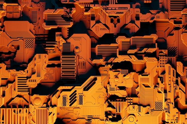 Détail D'une Machine Futuriste. Illustration 3d D'un Mur Futuriste Composé De Divers Détails Sous Des Néons Jaunes. Contexte Cyberpunk. Papier Peint Industriel. Détails Grunge Photo Premium