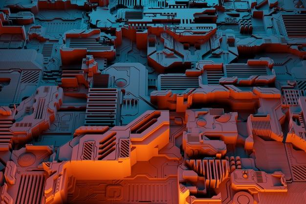 Détail D'une Machine Futuriste. Illustration 3d D'un Mur Futuriste Composé De Divers Détails Sous Des Néons Orange. Contexte Cyberpunk. Papier Peint Industriel. Détails Grunge Photo Premium