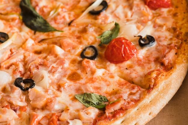 Détail de la pizza vue du dessus Photo gratuit