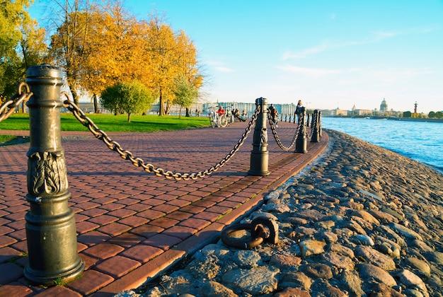 Détroit de kronverksky. île de lièvre. saint-pétersbourg en automne. Photo Premium