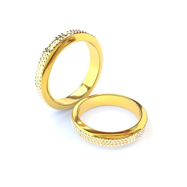 Deux bagues de mariage en or sur fond blanc. rendu 3d. Photo Premium