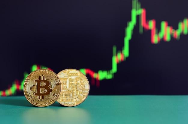 Deux bitcoins dorés se trouvent sur la surface verte à l'arrière-plan de l'écran Photo Premium