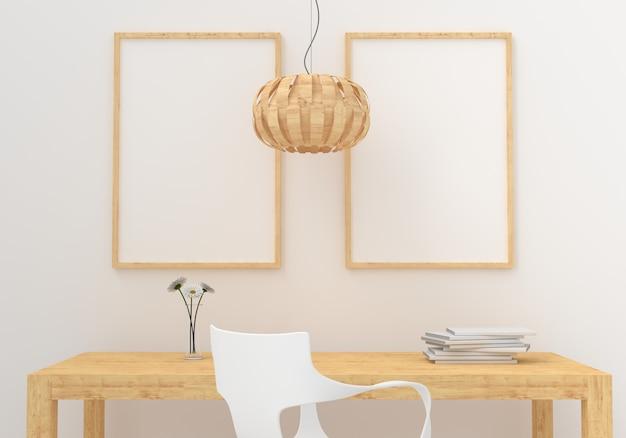 Deux cadre photo vide pour maquette en salle blanche Photo Premium