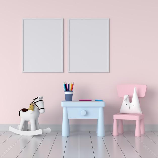 Deux cadre photo vierge dans la chambre d'enfant rose Photo Premium