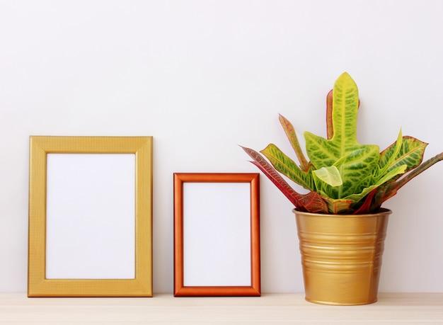 Deux cadres vides en or pour les images et les plantes d'intérieur sur la table sur un fond clair. Photo Premium