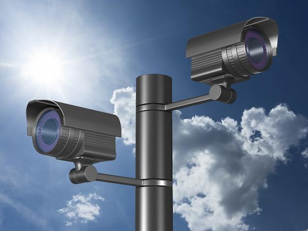 Deux Caméras De Sécurité Sur Le Ciel. Rendu 3d Photo Premium