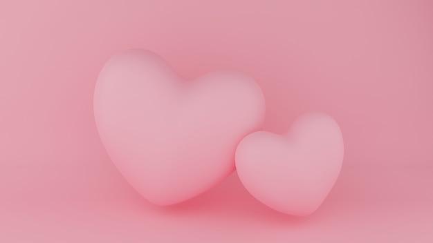Deux Coeur Rose Avec Fond Rose. Concept De La Saint-valentin. Illustration De Rendu 3d. Photo Premium