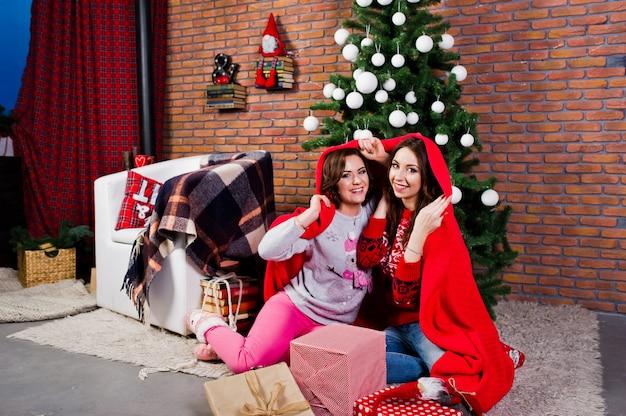 Deux copines portent des chandails d'hiver assis à la salle avec des décorations de noël. Photo Premium