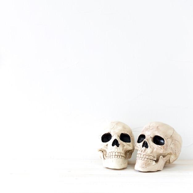 Deux crânes pour la fête d'halloween Photo gratuit
