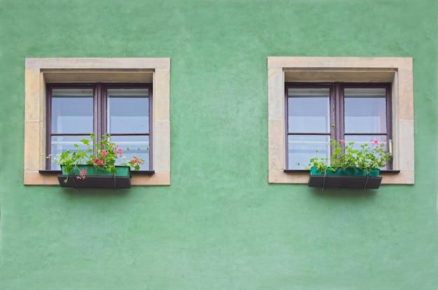 Deux fenêtres dans un mur vert Photo gratuit