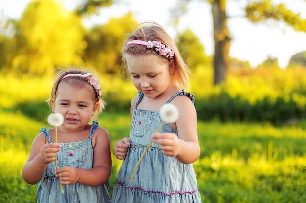 Deux Filles Caucasiennes Gaies Avec Pissenlit Dans Le Parc D'été. Photo Premium