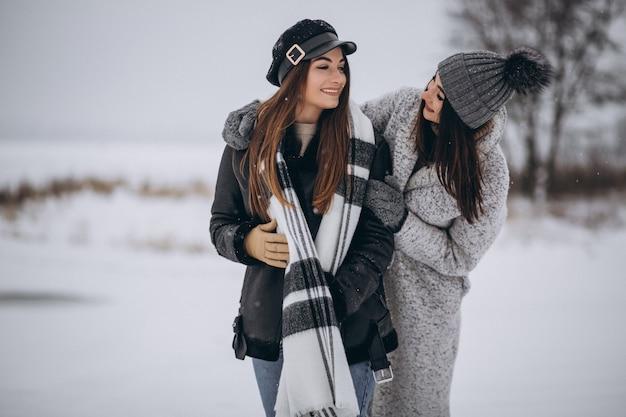 Deux filles marchant ensemble dans un parc d'hiver Photo gratuit