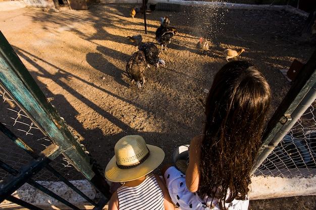Deux Filles Nourrissent Des Graines De Poulet à La Ferme Photo gratuit