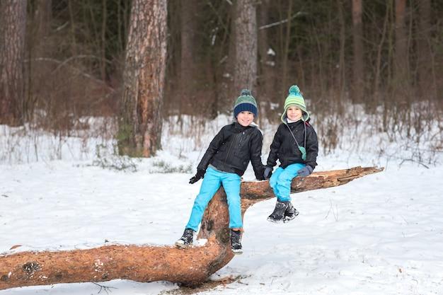 Deux frères dans la forêt d'hiver Photo Premium