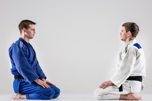 Les Deux Judokas Combattant Les Hommes Photo gratuit