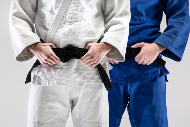 Les Deux Judokas Posant Photo gratuit