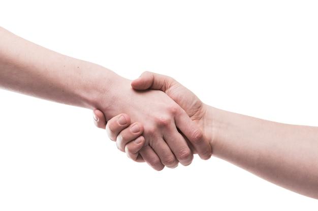 Deux Mains Dans La Poignée De Main Photo Premium