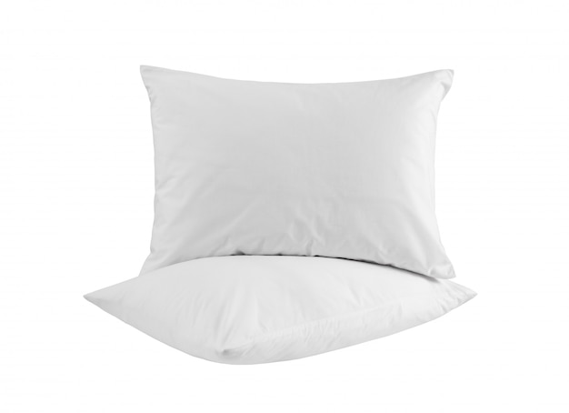 Deux oreillers blancs isolés sur fond blanc. vue de côté. Photo Premium
