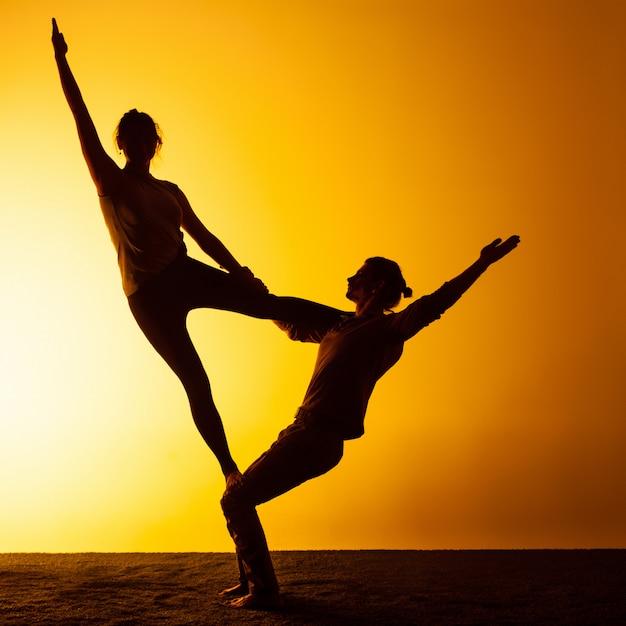 Deux Personnes Pratiquant Le Yoga Dans La Lumière Du Coucher Du Soleil Photo gratuit