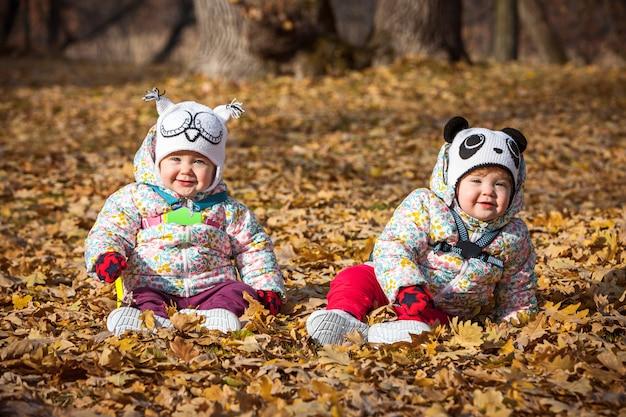 Les Deux Petites Filles Assises Dans Les Feuilles D'automne Photo gratuit