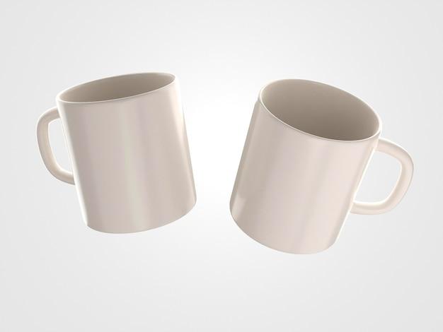 Deux Tasses Blanches Avec Poignées Photo gratuit