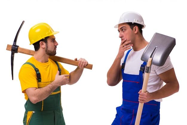 Deux Travailleurs Isolés Photo Premium
