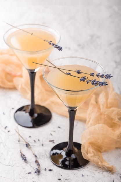 Deux verres avec un cocktail martini Photo Premium