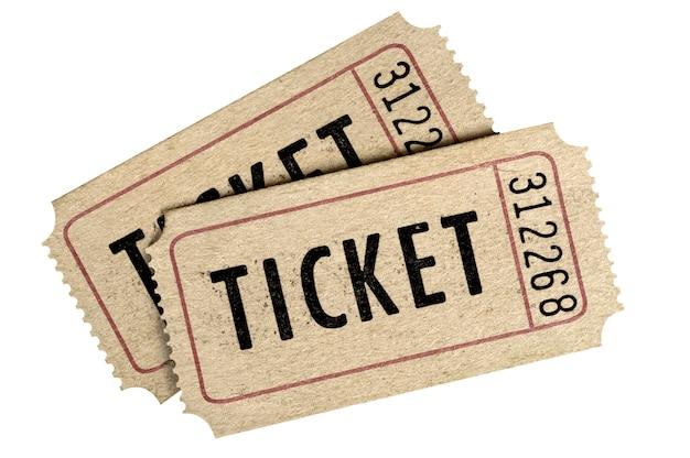 Deux Vieux Fond De Ticket De Film Isolé Fond Blanc. Photo Premium