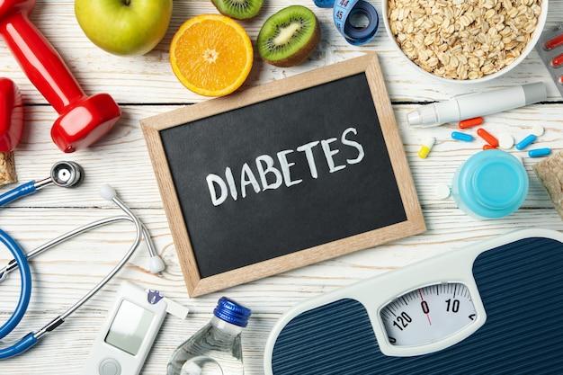 Diabète Word Et Accessoires Diabétiques Sur Table En Bois Photo Premium