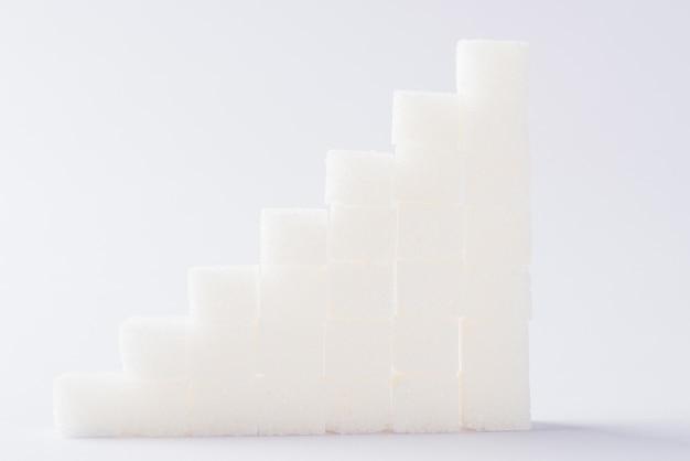 Diagramme Croissant Des Piles De Cubes De Sucre Photo Premium