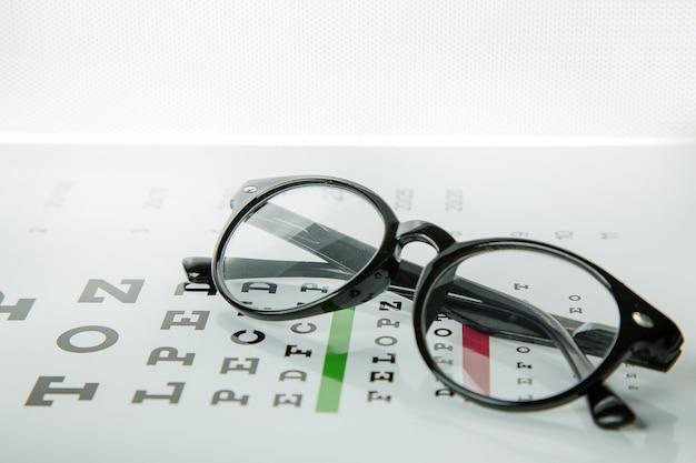 Le diagramme de vérification des yeux lunettes optométrie médicale de fond. Photo Premium
