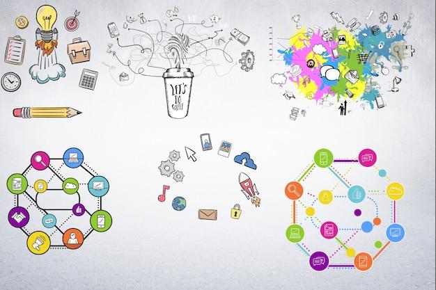 Diagrammes avec des icônes connectées Photo gratuit