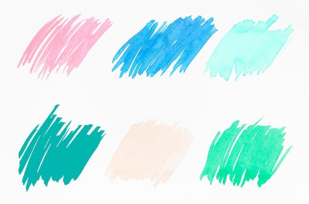 Différents types de coup de pinceau isolé sur fond blanc Photo gratuit