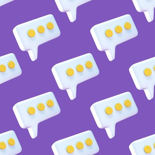 Discours Bulle Chat Icône Transparente Motif Sur Fond Violet. Photo Premium