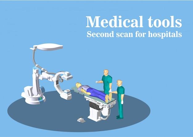 Dispositif médical de vecteur, scanner du cerveau Photo Premium