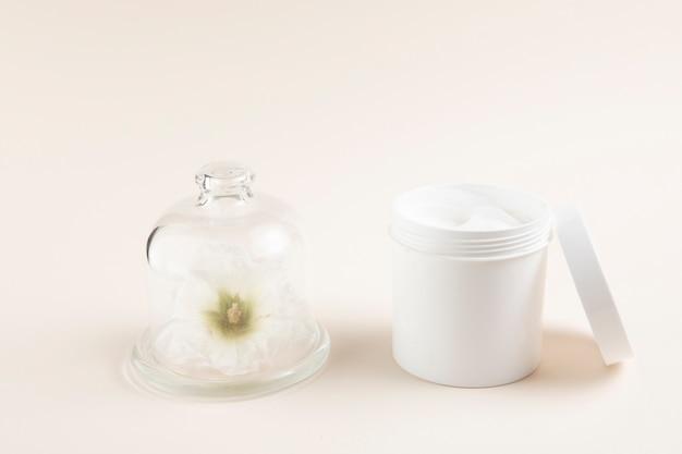 Disposition de beurre de corps naturel avec fond uni Photo gratuit