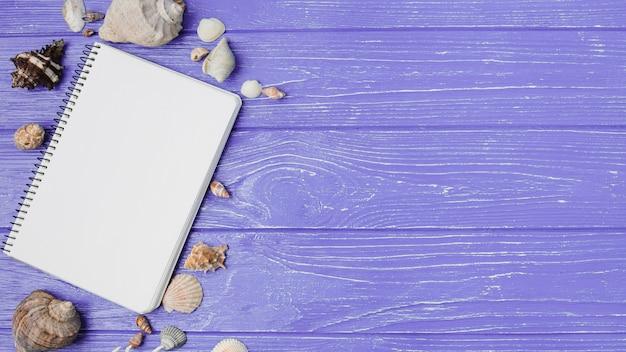 Disposition des coquillages et du bloc-notes Photo gratuit