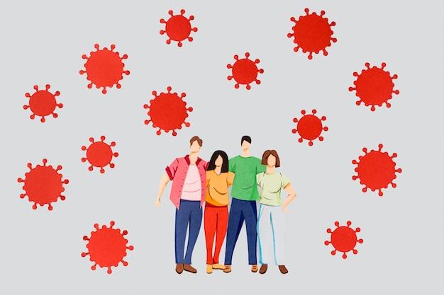 Disposition Du Papier Fait Coronavirus Et Famille Photo gratuit