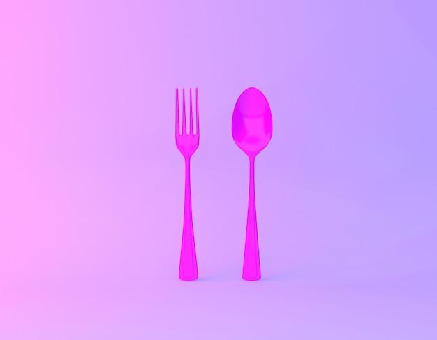 Disposition de l'idée créative faite de cuillères et fourchettes en arrière-plan vibrant de couleurs holographiques violet et bleu dégradé. Photo Premium