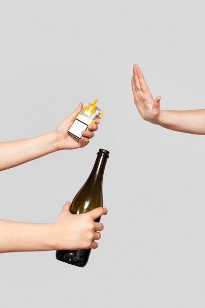 Dites Non Au Tabagisme Et à L'alcool Photo Premium