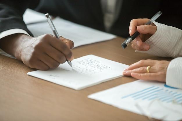 Divers Partenaires Commerciaux Jouant Au Tic-tac-toe Au Bureau, Gros Plan Photo gratuit