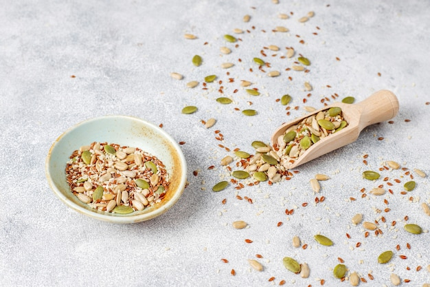 Diverses Graines - Sésame, Graines De Lin, Graines De Tournesol, Graines De Citrouille Pour Salades. Photo gratuit