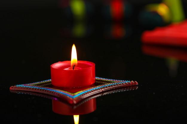 Diwali Diya Avec Fire Crackers Photo Premium